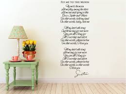 Me To You Wall Stickers Wall Vinyl Decal Fly Me To The Moon Song Lyrics By Frank