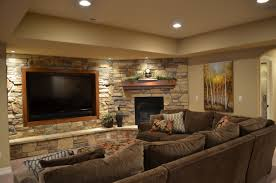 basement cool basement ceiling ideas with sofa and stone