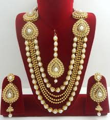 bridal jewelry white cz pearl gold tone indian rani haar necklace set