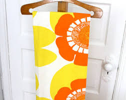 White Curtains With Yellow Flowers Groovy Curtains Etsy