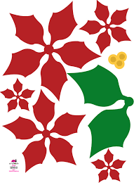 paper poinsettia christmas flower free download template for kids