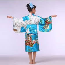 lake blue stylish japanese baby kimono dress cute kid yukata