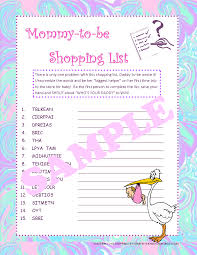 mommy to be shopping list baby shower game