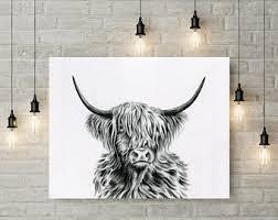 farmhouse art cow art charcoal drawing print