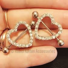 nipple rings jewelry images Pair 14g cz white sparkle heart rhinestone nipple rings shield jpg