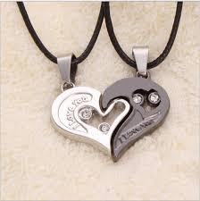 wholesale love necklace images Wholesale chic i love you matching hearts titanium steel lover jpg