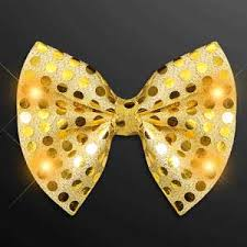 gold sequin light up led bow ties with led lights