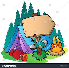 Wooden Tent by Camping Wooden Sign Near Tent Vector Stock Vector 75993298