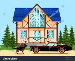 beautiful twostorey house tiled roof car stock vector 692071597