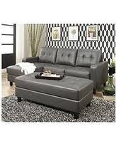 gray sectional with ottoman bargains on claire leather reversible sectional and ottoman gray