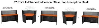 shaped 2 person glass top reception desk