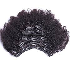 clip on hair 8inch 4b 4c afro curly clip in human hair