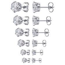 cubic zirconia stud earrings stainless steel clear cubic zirconia stud earrings 6 pairs