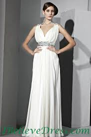 beading long formal white evening wedding dress full length