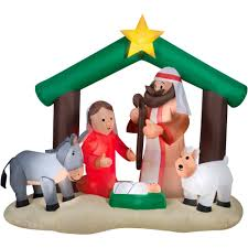 walmart inflatable halloween decorations 7 u0027 airblown inflatable holy family nativity scene christmas