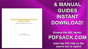 chrysler town and country 2013 owners manual video dailymotion