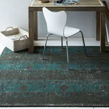and teal patchwork wool rug