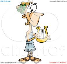 clipart of a cartoon greek god apollo holding a lyre royalty