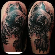 right half sleeve tiger ripped skin tattoos