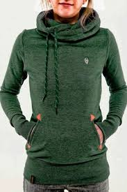 green animal pockets badge drawstring hooded long sleeve casual