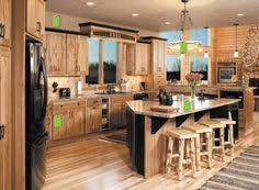 Hickory Kitchen Cabinets Hickory Cabinets Rustic Kitchen Design Ideas Wood Flooring Pendant