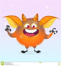 cute cartoon monster smiling halloween vector fluffy orange