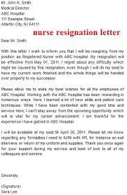 resignation letter template nurse resignation letter sample