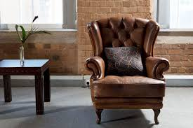 side chairs living room brown leather side chair with arm and tufted back rest plus square
