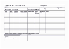 part inspection report template article inspection form template template update234