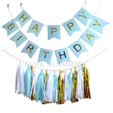 gold foil tissue paper light blue happy birthday party decorations set banner bunting