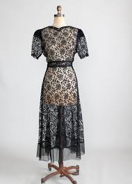 vintage 1930s black lace sweetheart dress raleigh vintage