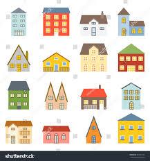 vector house icons set flat design stock vector 333972194