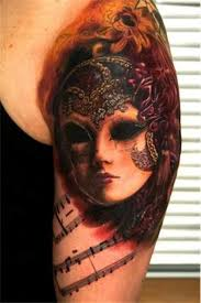 45 great venetian mask tattoos for shoulder