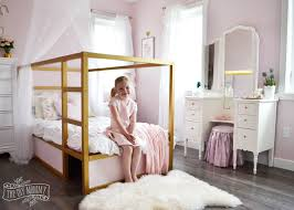 Shabby Chic White Bed Frame by A Pink White U0026 Gold Shabby Chic Glam Girls U0027 Bedroom Reveal