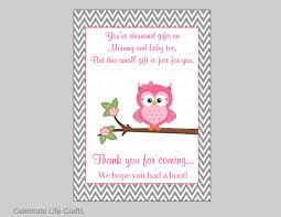 owl baby shower thank you favor sign printable baby shower