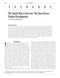 the toyota the toyota way in services the case of lean product development