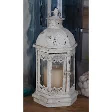rustic distressed white iron and glass candle lantern set of 3