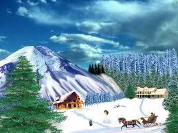 winter scene house sky tree deers clouds snow desktop backgrounds