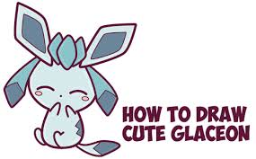 how to draw cute kawaii chibi glaceon from pokemon in easy step by
