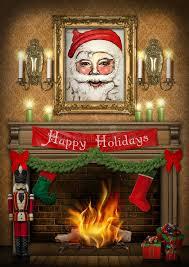 happy holidays nutcracker fireplace poster stock