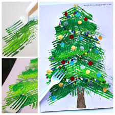 fork painted christmas tree u2013 the pinterested parent