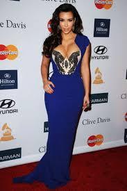 kim kardashian blue dress grammy awards beaded elegant sheath