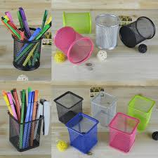 oem office desk pen pot mesh organizer square silver