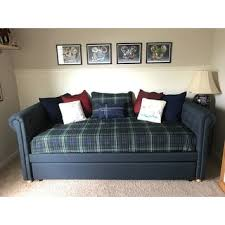 dhp sophia navy linen upholstered daybed and trundle free