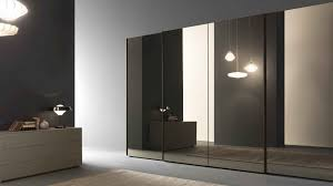 white brown glass sliding door wardrobe with lighting decoration