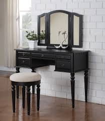 Vanity Set Furniture Poundex 5 Drawer Vanity Set With Stool In Black Finish F4072