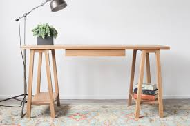 furniture dark sawhorse desk with oak office chairs and feizy