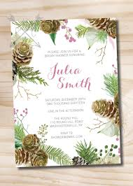 round wedding invitations watercolor pinecone pink glitter winter bridal shower baby shower