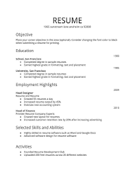 first resume template time with no experience samples keep simple