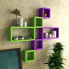 home decor nation wall shelf set wooden display wall racks purple and green